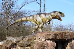 Junger T-Rex im Dinosauerierpark Teufelsschlucht. Foto: Winfried Hoor